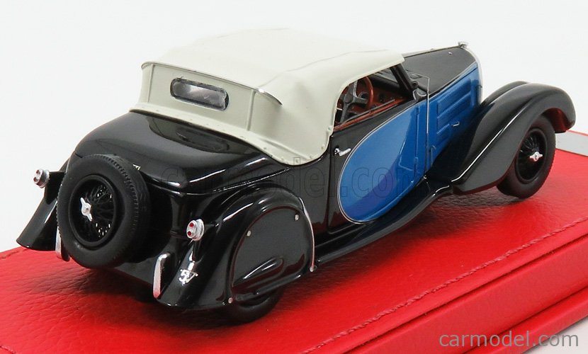 EVRAT EVR222 Masstab: 1/43  BUGATTI T57 STELVIO ch.57406 CABRIOLET PERSONAL CAR OF JACQUES DUFILHO ORIGINAL VERSION 1936 BLUE BLACK WHITE