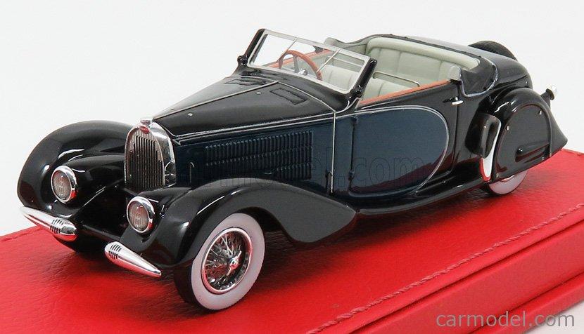 EVRAT EVR221 Masstab: 1/43  BUGATTI T57 STELVIO ch.57406 CABRIOLET PERSONAL CAR OF JACQUES DUFILHO RESTORED VERSION 1936 BLUE BLACK