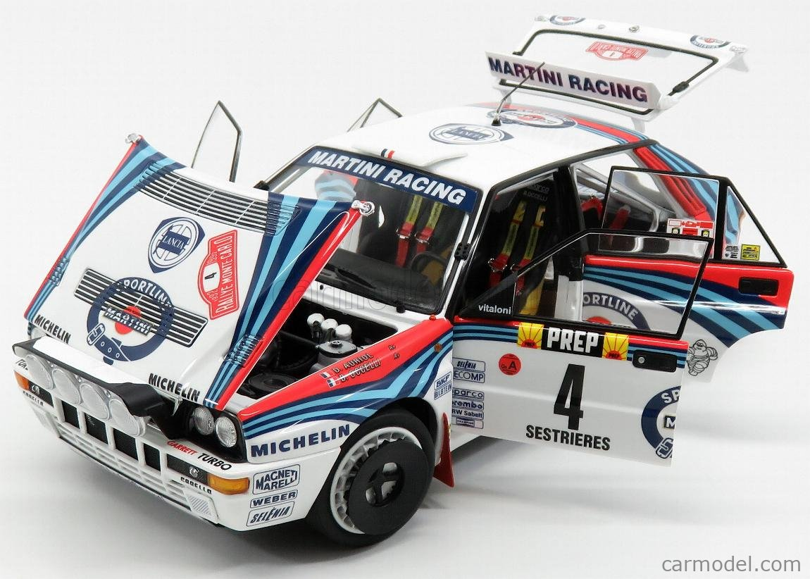 KYOSHO 08348A Scale 1/18  LANCIA DELTA HF INTEGRALE EVOLUZIONE MARTINI (night version) N 4 WINNER RALLY MONTECARLO 1992 D.AURIOL - B.OCCELLI WHITE BLUE RED
