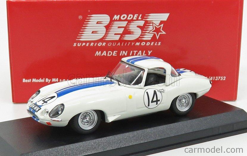 BEST-MODEL 9775 Scale 1/43  JAGUAR E-TYPE N 14 24h LE MANS 1963 HANSGEN - PABST WHITE BLUE