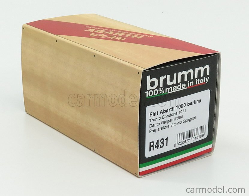 BRUMM R431-UPD Scala 1/43  FIAT 600 1000 ABARTH N 384 PREPARATA SPAGNOL TRENTO-BONDONE 1971 DANTE GARGAN GREY WHITE