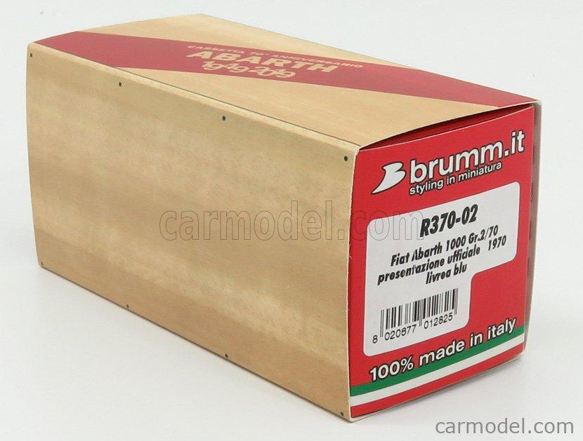 BRUMM R370-02-UPD Scala 1/43  FIAT 600 ABARTH 1000 Gr.2 PRESENTAZIONE UFFICIALE 1970 GREY WHITE BLUE