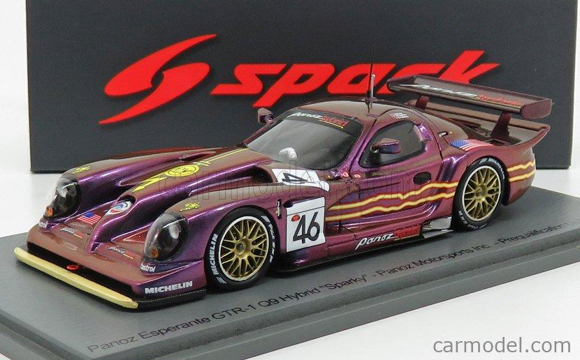 SPARK-MODEL S4867 Scale 1/43  PANOZ ESPERANTE GTR-1 Q9 6.0 V8 HYBRID TEAM PANOZ MOTORSPORT N 46 PREQUALIFYING 24h LE MANS 1998 J.WEAVER - P.McCARTHY - J.O'CONNELL MATT PURPLE