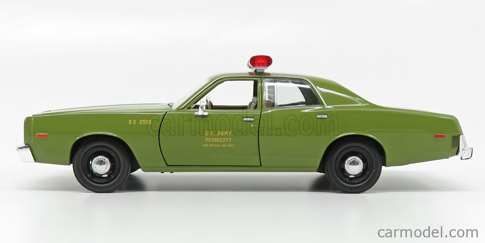 GREENLIGHT 84103 Scale 1/24  PLYMOUTH FURY U.S. ARMY MILITARY POLICE 1977 - A-TEAM MILITARY GREEN