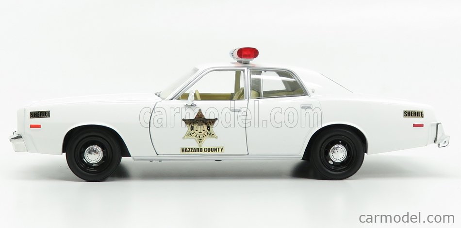 GREENLIGHT 84095 Echelle 1/24  PLYMOUTH FURY - HAZZARD COUNTY SHERIFF - POLICE ROSCO PATROL CAR 1977 WHITE