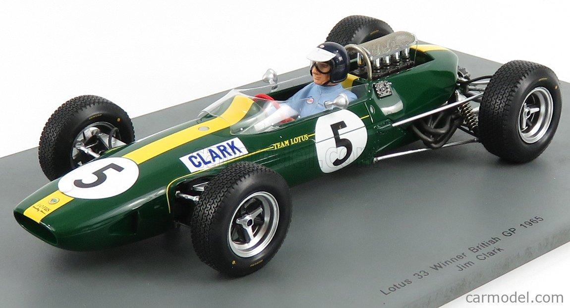 Spark Models 18S416 1//18 1965 Lotus 33 Jim Clark Ganador GP Británico Modelo F1