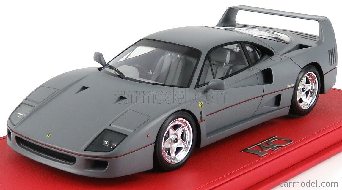 Bbr Models P18167 Vet Scale 1 18 Ferrari F40 1987 Personal Cr Sultan Of Brunei Con Vetrina With Showcase Gun Metal Matt Grey