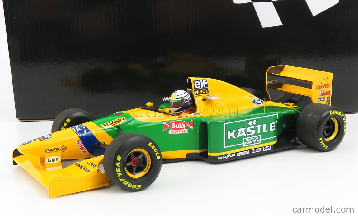 MINICHAMPS 110930906 Масштаб 1/18  BENETTON F1  B193 TEAM BENETTON FORD N 6 3rd BRITISH GP 1993 R.PATRESE YELLOW GREEN BLUE