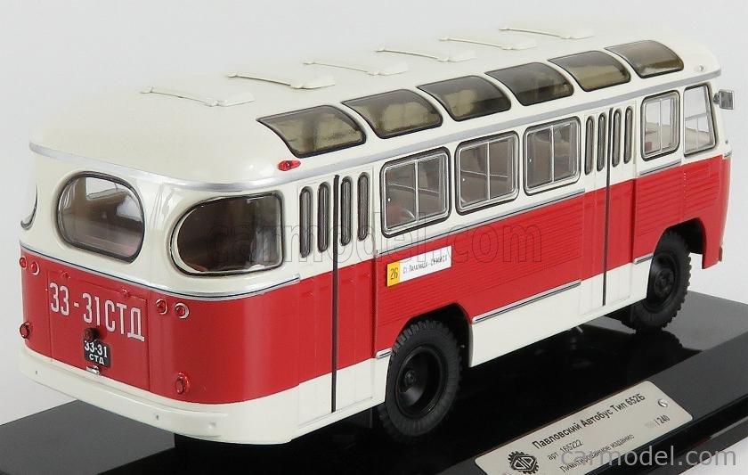 SPARK-MODEL 165222 Scale 1/43  PAZ 652B AUTOBUS 1967 WHITE RED