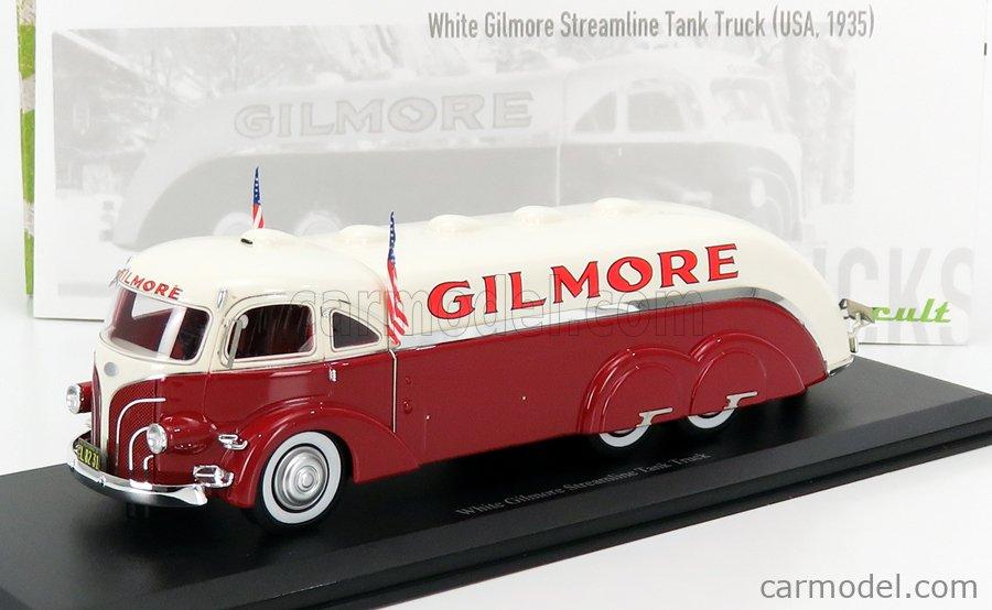 AUTOCULT ATC11012 Scale 1/43  WHITE STREAMLINE TANK TRUCK GILMORE OIL COMPANY USA 1935 RED WHITE