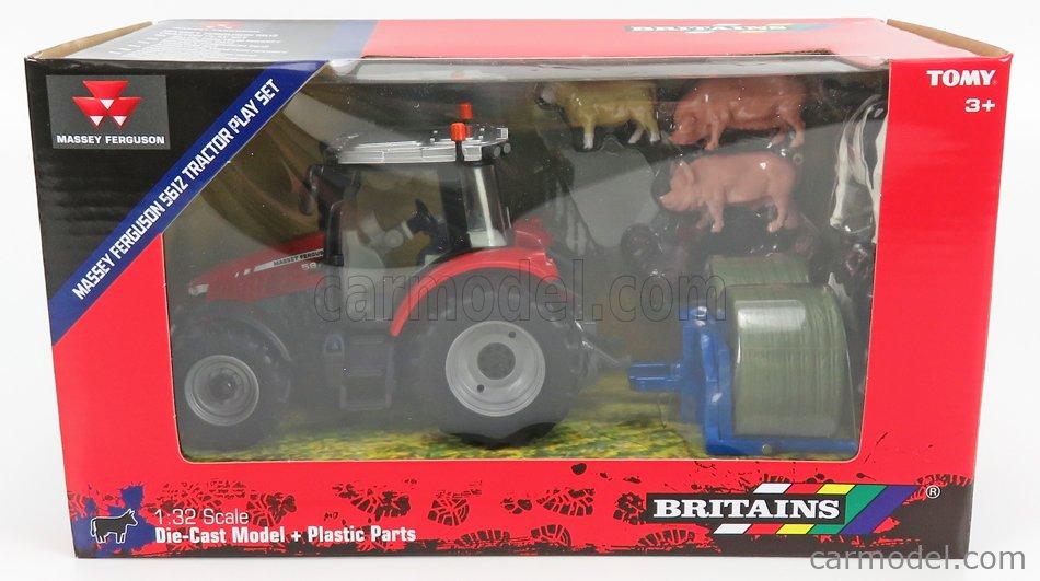 BRITAINS 43205 Masstab: 1/32  MASSEY FERGUSON 5612 TRACTOR WITH ANIMALS 2016 RED SILVER