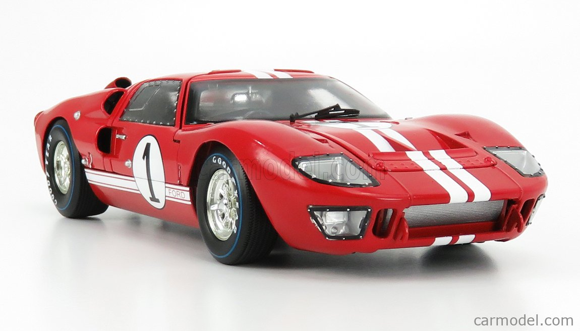 SHELBY-COLLECTIBLES SHELBY407 Scale 1/18  FORD USA GT40 MKII 7.0L V8 ROADSTER TEAM SHELBY AMERICAN INC. N 1 WINNER 12h SEBRING 1966 K.MILES - L.RUBY RED WHITE