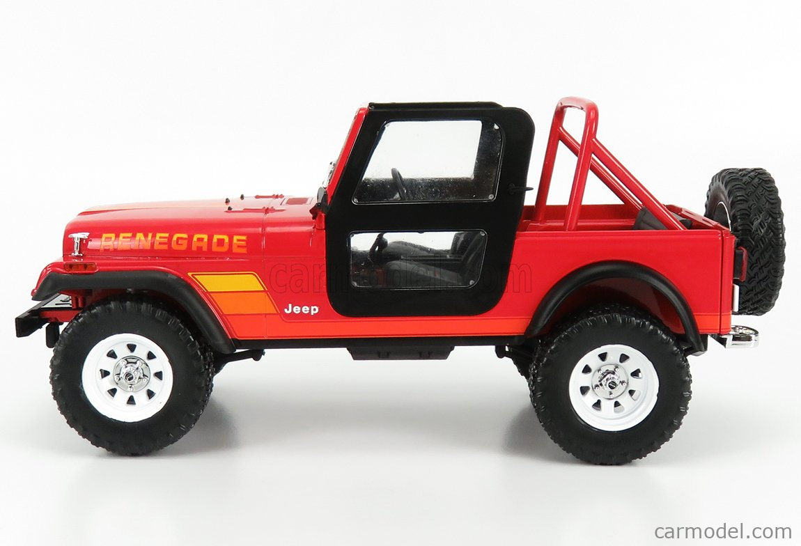 GREENLIGHT 19060 Masstab: 1/18  JEEP CJ-7 RENEGADE OPEN WITH SARAH CONNOR FIGURE 1983 - THE TERMINATOR RED WHITE