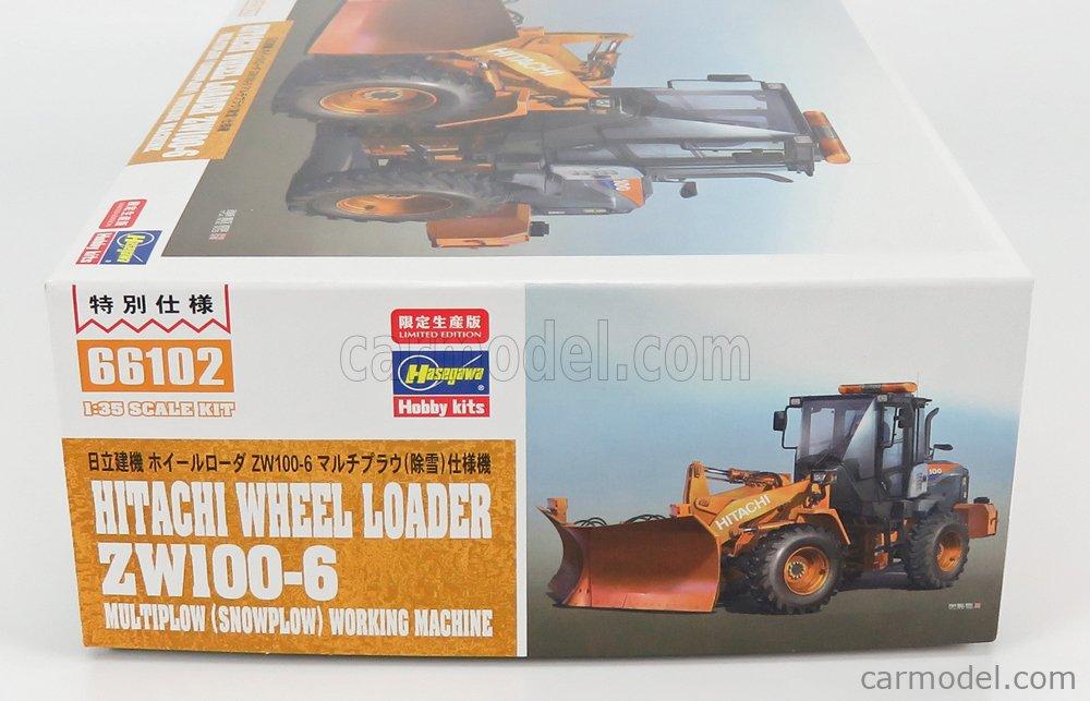 HASEGAWA 66102 Масштаб 1/35  HITACHI FIAT ZW100-6 RUSPA GOMMATA TRACTOR - SCRAPER - SPAZZANEVE - SNOWPLOW /