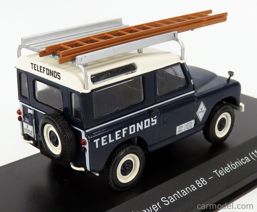 EDICOLA VEDEREPESP006 Масштаб 1/43  LAND ROVER SANTANA 88 TELEFONICA 1989 BLUE CREAM