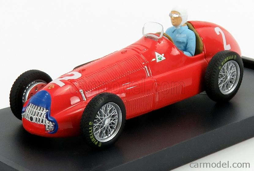 BRUMM R036B-CH Echelle 1/43  ALFA ROMEO F1  158 N 2 WINNER GREAT BRITAIN EUROPE GP NINO FARINA 1950 WORLD CHAMPION - WITH DRIVER FIGURE RED
