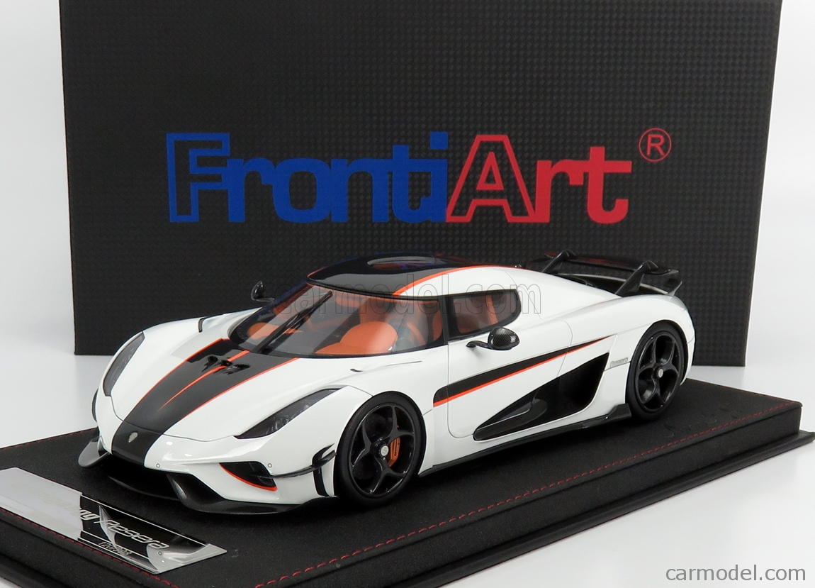 FRONTI-ART AS025-02 Scale 1/18  KOENIGSEGG REGERA 2016 - CON VETRINA - WITH SHOWCASE WHITE ORANGE CARBON