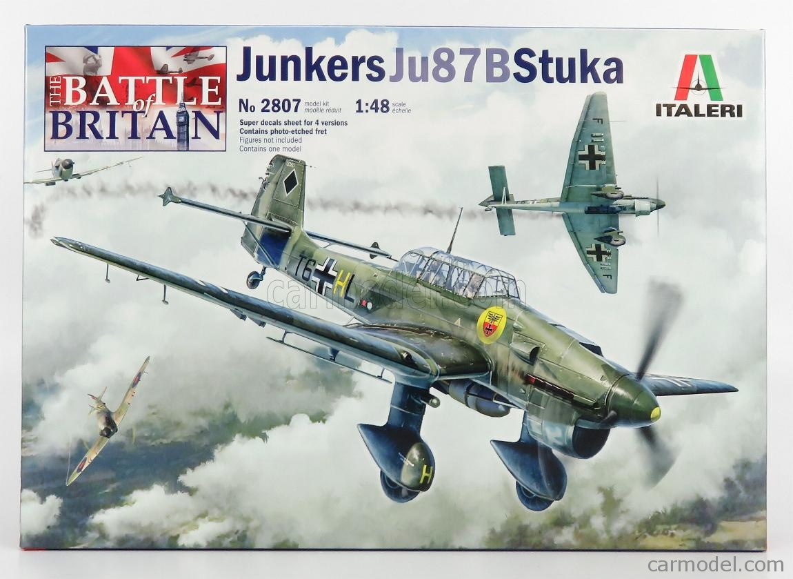 Junkers Ju87B Stuka Model Aircraft Kit 1//48 Scale Italeri 2807