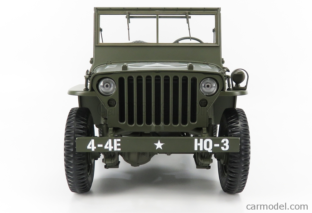 PREMIUM-X PR8-0010 Masstab: 1/8  JEEP WILLYS MB USA ARMY WITH TRAILER AND M3 GUN 1943 MILITARY GREEN