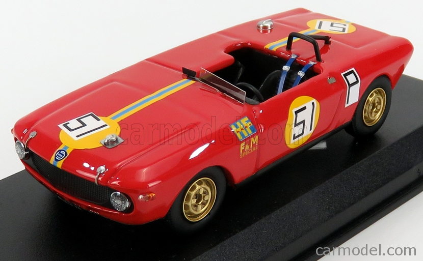 BEST-MODEL 9788 Scale 1/43  LANCIA FULVIA  SPECIAL HF SPIDER N 51 1000km NURBURGRING 1969 U.MAGLIOLI - R.PINTO RED YELLOW