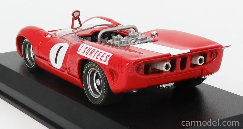BEST-MODEL 9787 Escala 1/43  LOLA T70 MKII SPIDER N 1 WINNER BRANDS HATCH GUARD TROPHY 1966 J.SURTEES RED WHITE