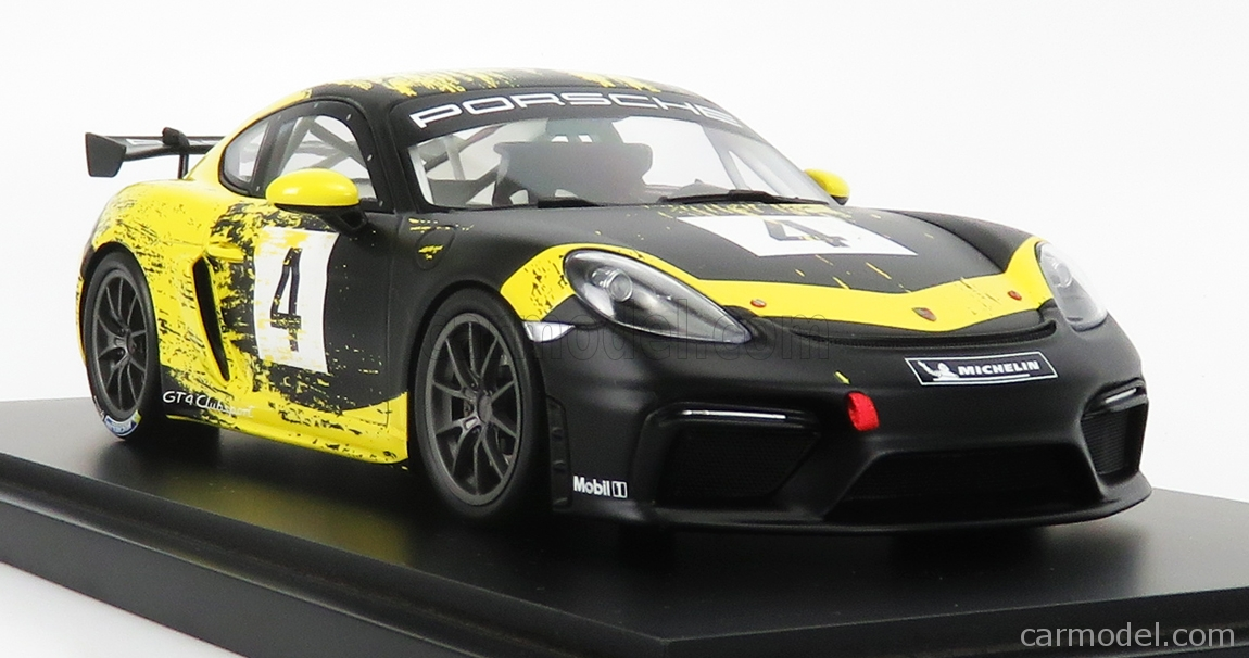 MINICHAMPS WAP0214150K Scale 1/18  PORSCHE CAYMAN GT4 TEAM PORSCHE MOTORSPORT N 4 CLUBSPORT 2019 - CON VETRINA - WITH SHOWCASE BLACK YELLOW
