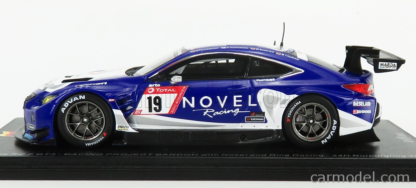 SPARK-MODEL SG538 Scale 1/43  LEXUS RCF GT3 TEAM BANDOH RACING WITH NOVEL AND RING RACING N 19 24h NURBURGRING 2019 D.FARNBACHER - H.YOSHIMOTO - M.SEEFRIED - M.TISCHNER BLUE WHITE
