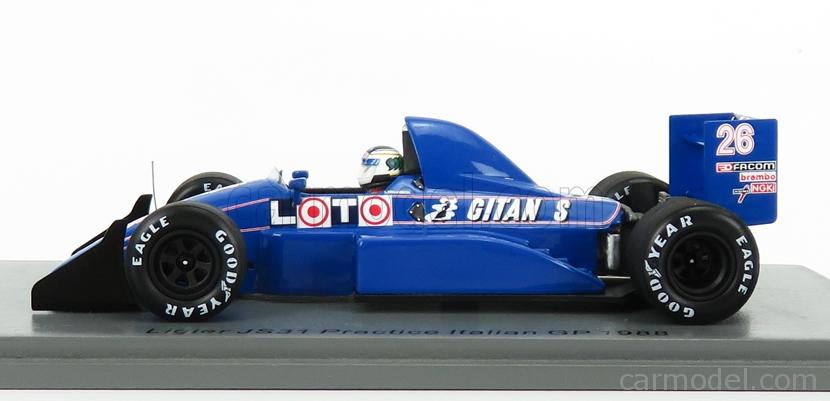 SPARK-MODEL S7412 Scale 1/43  LIGIER F1  JS31 N 26 PRACTICE ITALIAN GP 1988 S.JOHANSSON BLUE