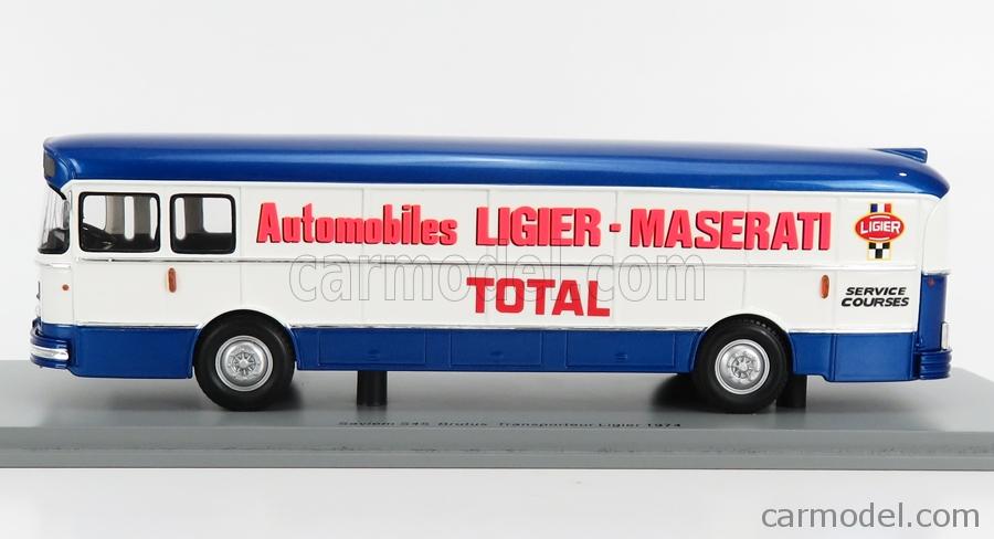 SPARK-MODEL S2698 Echelle 1/43  SAVIEM S105M AUTOBUS TRANSPORTER SERVICE COURSE LIGIER MASERATI 1974 BLUE WHITE