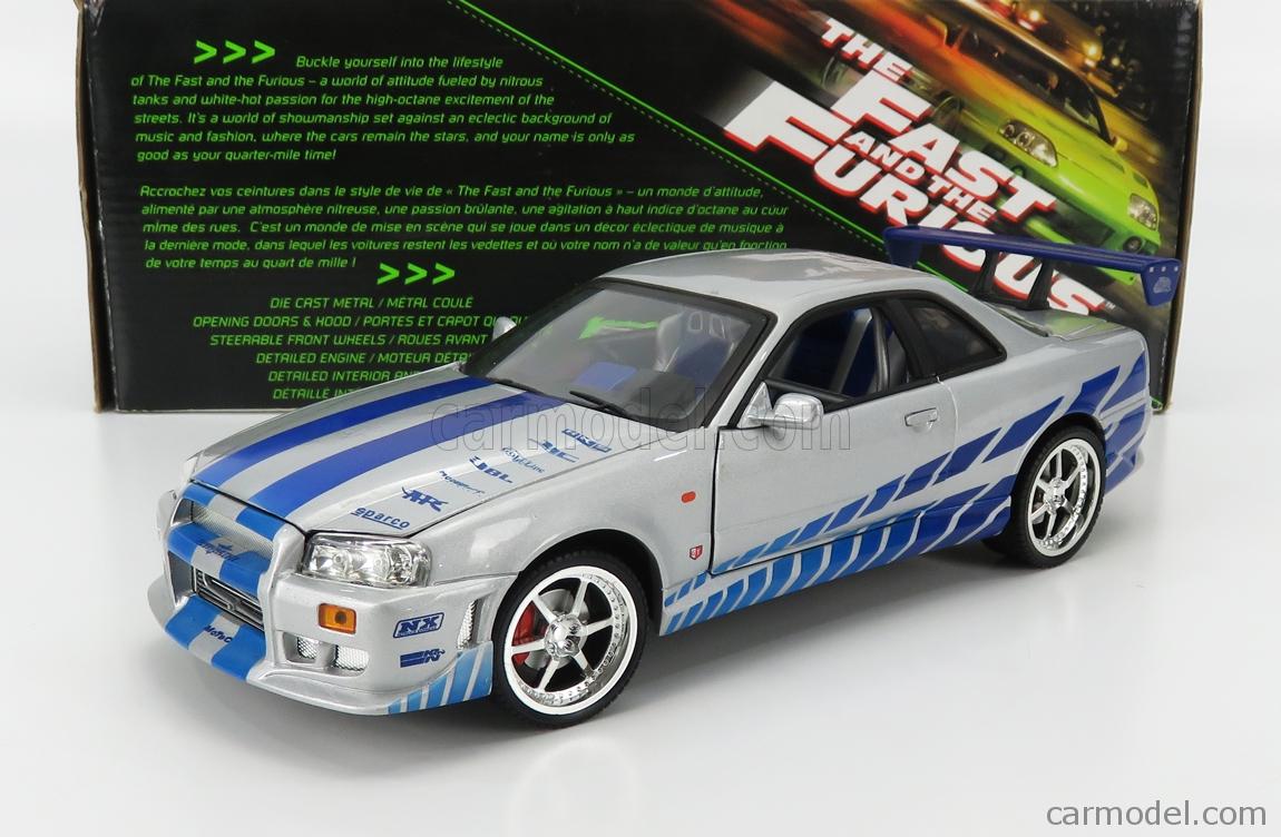 ERTL 33447 Scale 1/18  NISSAN BRIAN'S SKYLINE GT-R 1999 - FAST & FURIOUS II (2003) SILVER BLUE
