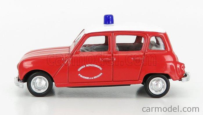 NOREV 319250-319251 Scale 1/64  RENAULT R4 SAPEURS POMPIERS SERVICE DEPARTEMENTAL D'NCENDIE DE SECOURS 1966 RED WHITE