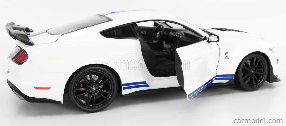 MAISTO 31452W Scale 1/18  FORD USA MUSTANG SHELBY GT500 COUPE 2020 WHITE BLUE