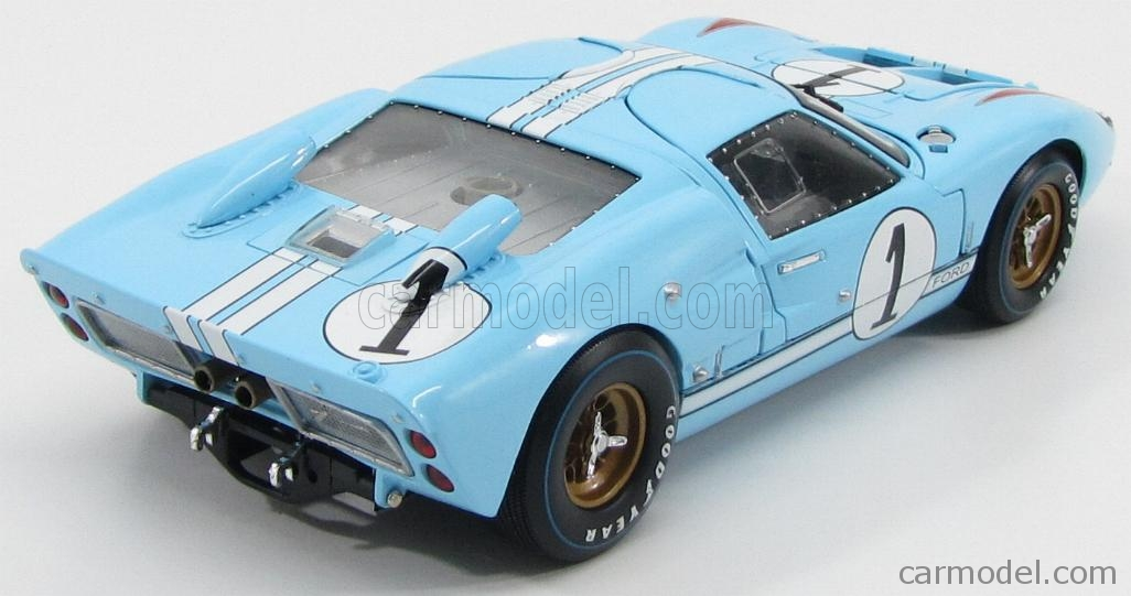 SHELBY-COLLECTIBLES SHELBY411BLUEBOX Scale 1/18  FORD USA GT40 MKII 7.0L V8 TEAM SHELBY AMERICAN INC. N 1 2nd (BUT REALLY WINNER) 24h LE MANS 1966 K.MILES - D.HULME LIGHT BLUE