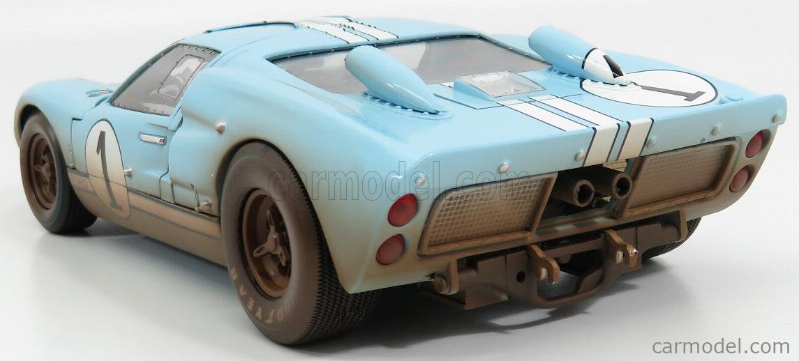 SHELBY-COLLECTIBLES SHELBY405BLUEBOX Scale 1/18  FORD USA GT40 MKII 7.0L V8 TEAM SHELBY AMERICAN INC. N 1 DIRTY VERSION 2nd (BUT REALLY WINNER) 24h LE MANS 1966 K.MILES - D.HULME LIGHT BLUE