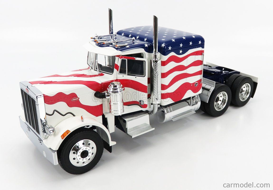 ROAD-KINGS RK180082 Scale 1/18  PETERBILT 359 STARS & STRIPES TRACTOR TRUCK 3-ASSI 1967 WHITE RED BLUE
