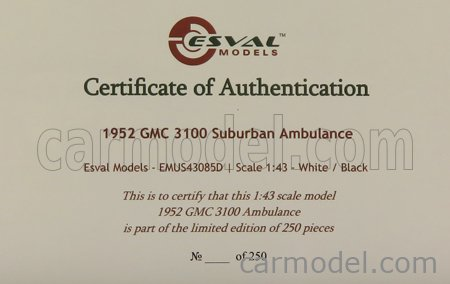 ESVAL MODEL EMUS43085D Scale 1/43  GMC SUBURBAN AMBULANCE 1952 WHITE BLACK