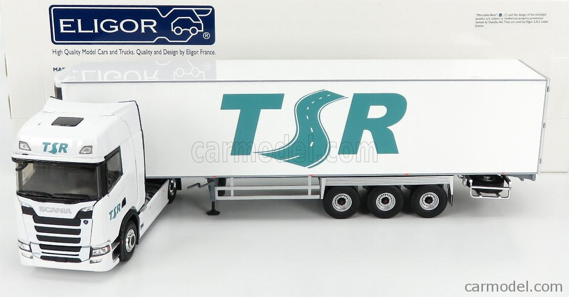 ELIGOR 116833 Scala 1/43  SCANIA S500 TRUCK SEMI-FRIGO TSR TRANSPORTS 2016 WHITE GREEN