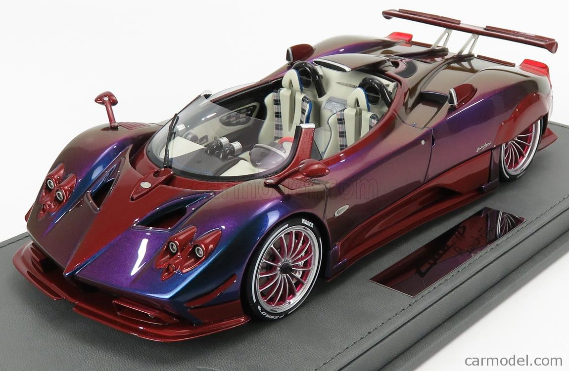 Bbr Models P18161d Vet Scale 1 18 Pagani Zonda Hp Barchetta 2018 Con Vetrina With Showcase Chameleon Purple Red