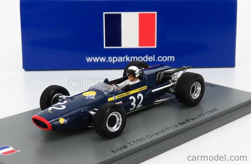 SPARK-MODEL SF180 Scale 1/43  LOLA F2  T100 N 32 PAU GP 1968 J.DE BAGRATION BLUE YELLOW