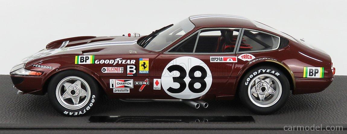 TOPMARQUES TOP114B Masstab: 1/18  FERRARI 365 GTB/4 DAYTONA 4.4L V12 TEAM NORTH AMERICAN RACING N.A.R.T. N 38 9th 24h LE MANS 1972 J.P.JARIER - C.BUCHET BORDEAUX MET