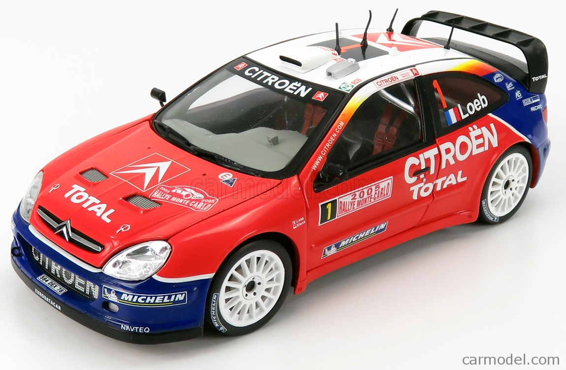 MONDOMOTORS MM50001 Echelle 1/18  CITROEN XSARA WRC N 1 WINNER RALLY MONTECARLO WORLD CHAMPION 2005 S.LOEB - D.ELENA RED WHITE BLUE