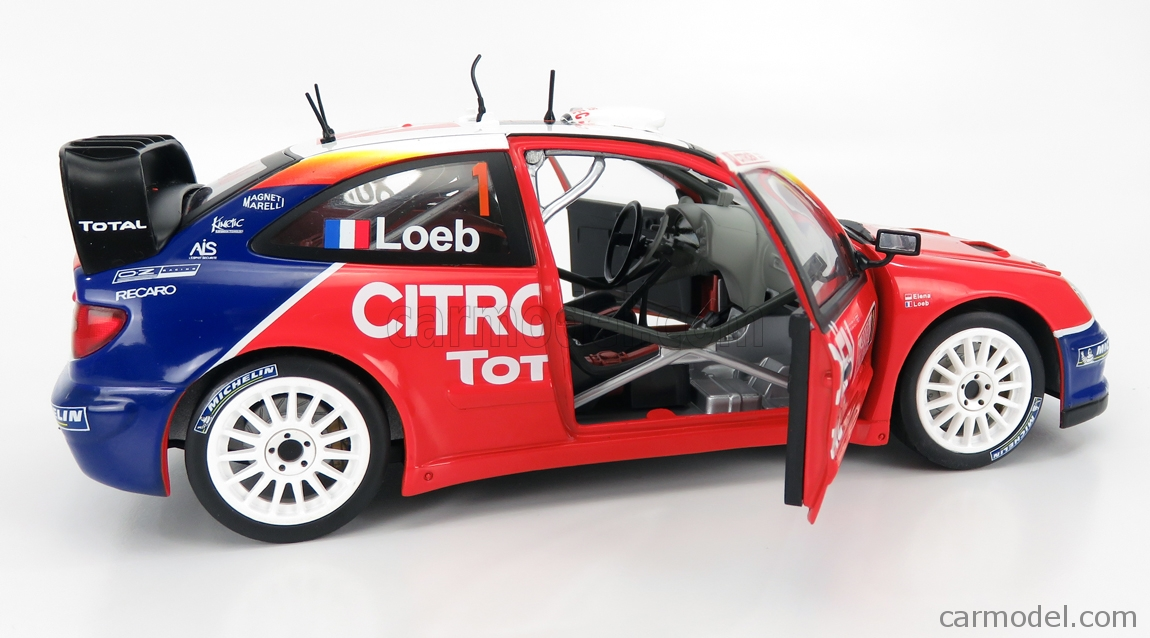 MONDOMOTORS MM50001 Masstab: 1/18  CITROEN XSARA WRC N 1 WINNER RALLY MONTECARLO WORLD CHAMPION 2005 S.LOEB - D.ELENA RED WHITE BLUE