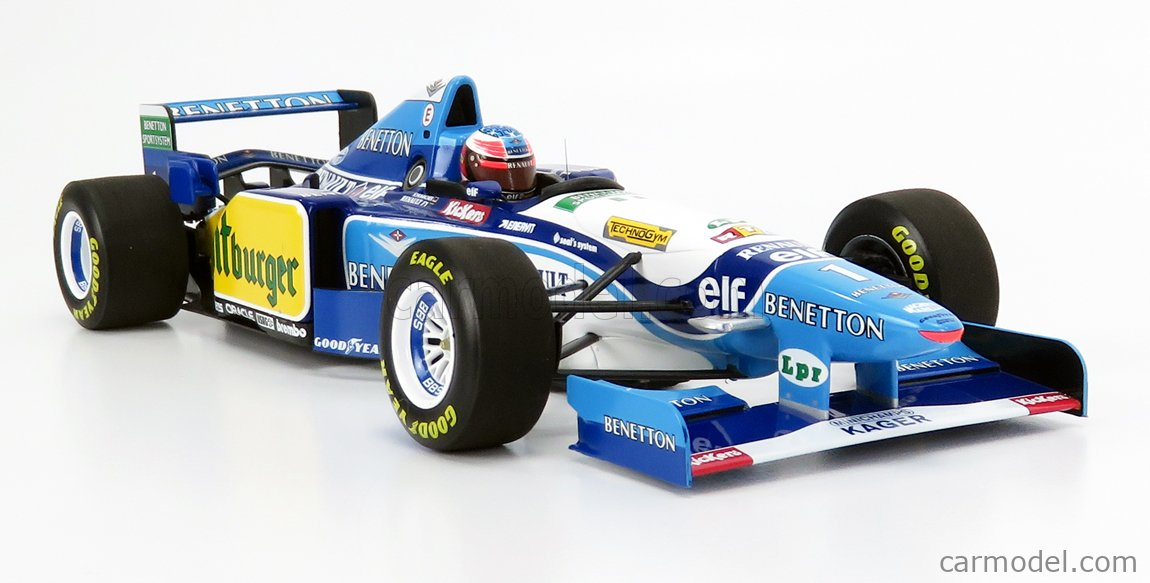MINICHAMPS 510952701 Escala 1/18  BENETTON F1  B195 TEAM MILD SEVEN RENAULT N 1 MICHAEL SCHUMACHER SEASON 1995 WORLD CHAMPION LIGHT BLUE