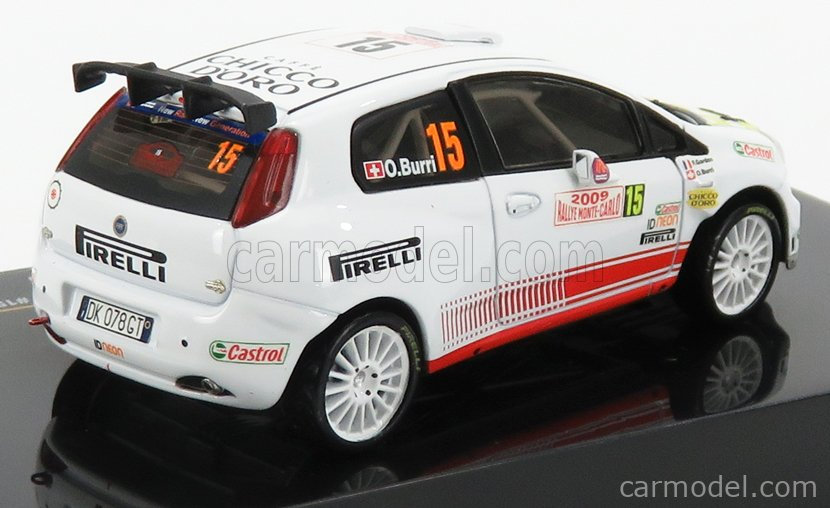 IXO-MODELS RAM380 Scale 1/43  FIAT ABARTH GRANDE PUNTO S2000 N 15 RALLY MONTECARLO 2009 O.BURRI - F.GORDON WHITE RED