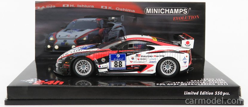MINICHAMPS 437111688 Scale 1/43  LEXUS LFA GAZOO RACING N 88 24h NURBURGRING 2011 A.LIDA - H.ISHIURA - K.OSHIMA WHITE BLACK RED