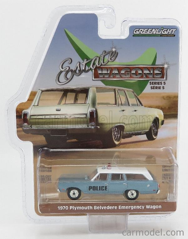 GREENLIGHT 29990C Scale 1/64  PLYMOUTH BELVEDERE POLICE EMERGENCY STATION WAGON 1970 LIGHT BLUE MET