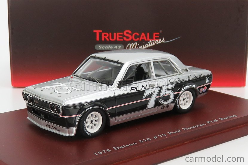 TRUESCALE TSM104318 Masstab: 1/43  NISSAN DATSUN 510 TEAM PLN RACING N 75 1975 P.NEWMAN SILVER BLACK