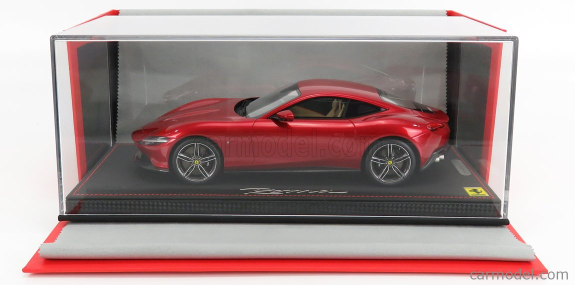 BBR-MODELS P18185C-VET Масштаб 1/18  FERRARI ROMA 2020 - CON VETRINA - WITH SHOWCASE ROSSO PORTOFINO - RED MET