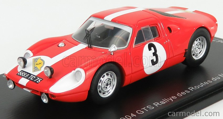 SPARK-MODEL SF165 Масштаб 1/43  PORSCHE 904 GTS N 3 RALLY DES ROUTES DU NORD 1966 F.DUMOUSSEAU - M.ROQUES RED WHITE