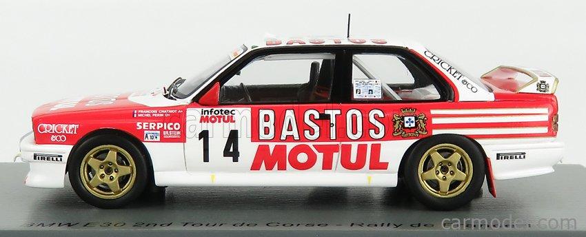 SPARK-MODEL SF150 Scale 1/43  BMW 3-SERIES M3 (E30) N 14 RALLY TOUR DE CORSE 1989 F.CHATRIOT - M.PERIN WHITE RED
